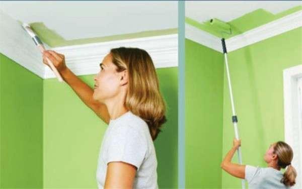 Как выполняется покраска потолка своими руками